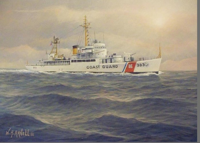 U. S. Coast Guard Cutter Castle Rock Greeting Card featuring the painting U. S. Coast Guard Cutter Castle Rock - version 2 by William Ravell
