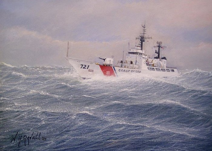 Ship Greeting Card featuring the painting U. S. Coast Guard Cutter Gallitin by William H RaVell III