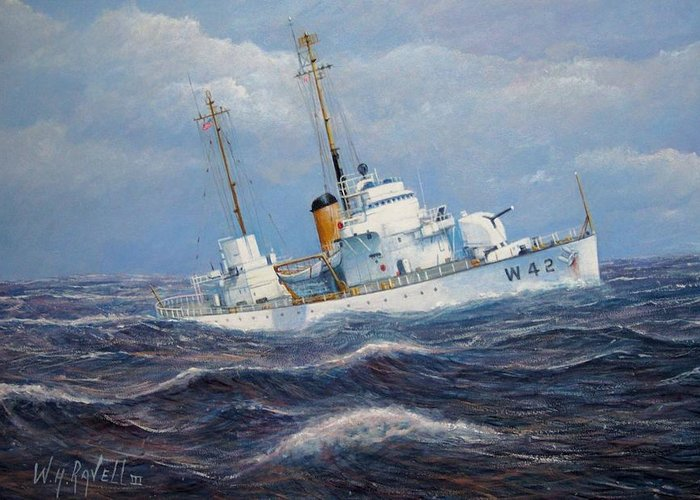 Marine Art Greeting Card featuring the painting U. S. Coast Guard Cutter Sebago Takes A Roll by William H RaVell III
