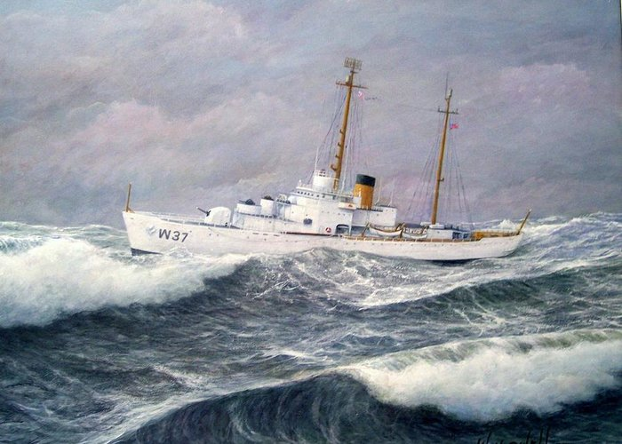 Ships Greeting Card featuring the painting U. S. Coast Guard Cutter Taney by William H RaVell III
