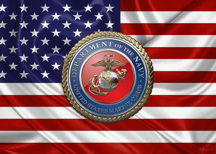 usmc  Collection By Serge Averbukh Greeting Card featuring the digital art U.  S. Marine Corps c1010a910fc