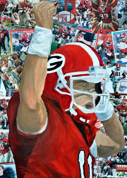 University Of Georgia Greeting Card featuring the painting Uga Celebrates by Michael Lee