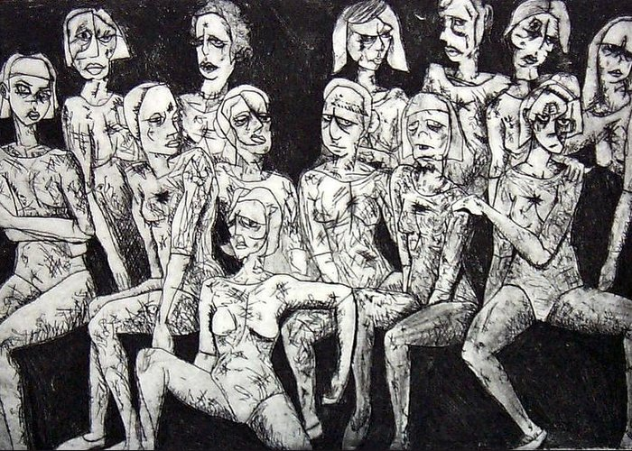 Etching Greeting Card featuring the print Ugly Girls by Thomas Valentine
