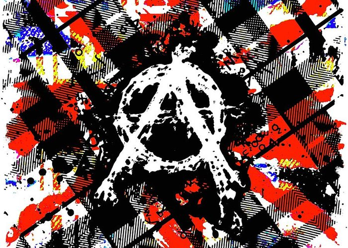 Anarchy Greeting Card featuring the digital art Uk Anarchy by Roseanne Jones