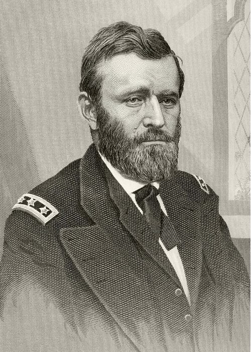 Illustration Greeting Card featuring the drawing Ulysses S. Grant, 1822 To 1885. Union by Vintage Design Pics