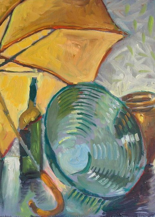 Still Life Greeting Card featuring the painting Umbrella And The Bottle by Piotr Antonow