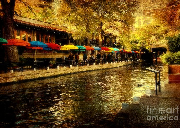 Riverwalk Greeting Card featuring the photograph Umbrellas In The Riverwalk by Iris Greenwell