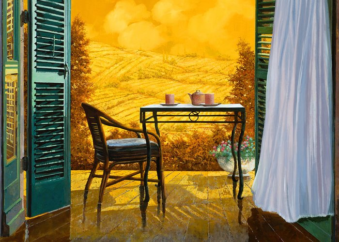Terrace Greeting Card featuring the painting Un Caldo Pomeriggio D by Guido Borelli