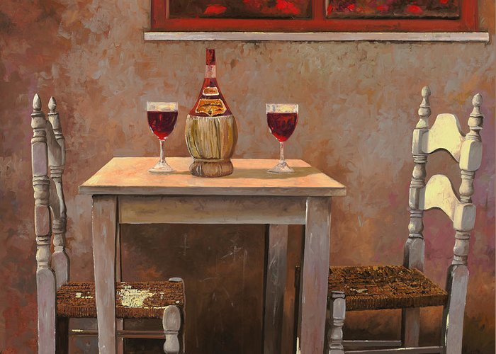 Chianti Greeting Card featuring the painting un fiasco di Chianti by Guido Borelli