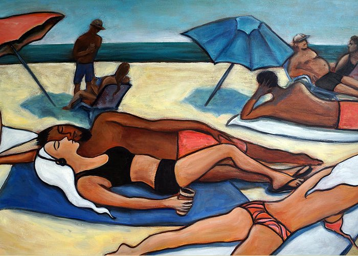 Beach Scene Greeting Card featuring the painting Un Journee A La Plage by Valerie Vescovi