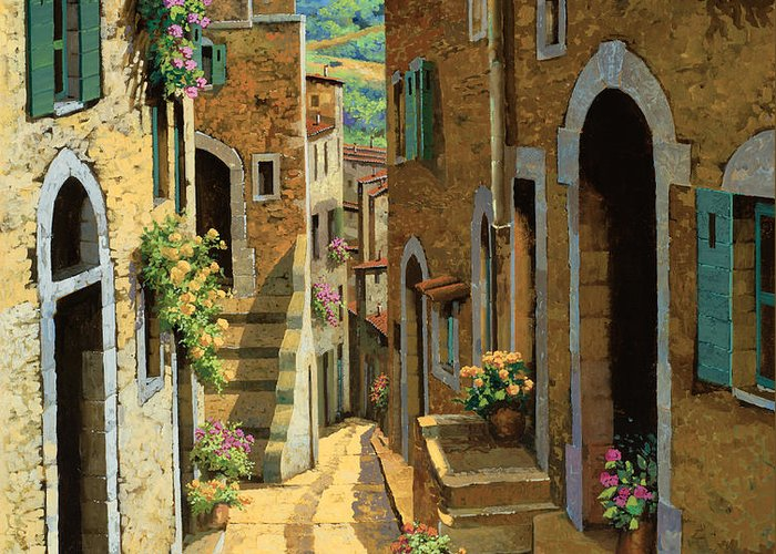 Village Greeting Card featuring the painting Un Passaggio Tra Le Case by Guido Borelli