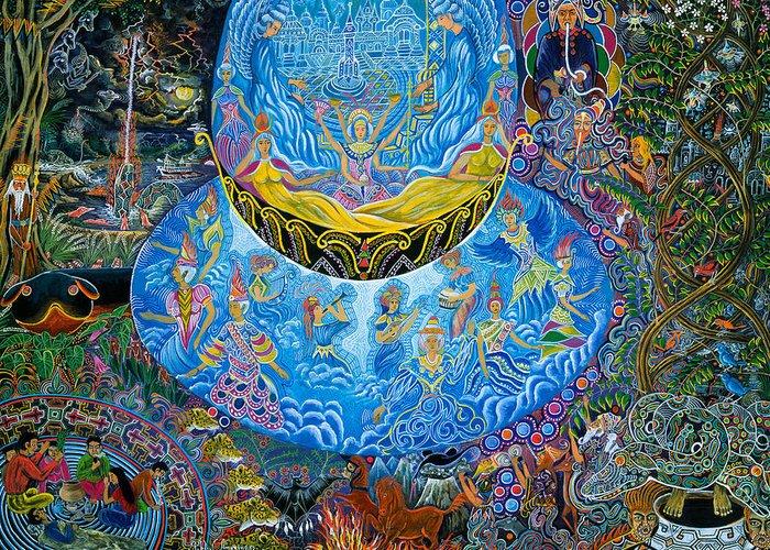 Pablo Amaringo Greeting Card featuring the painting Unai Shipash by Pablo Amaringo