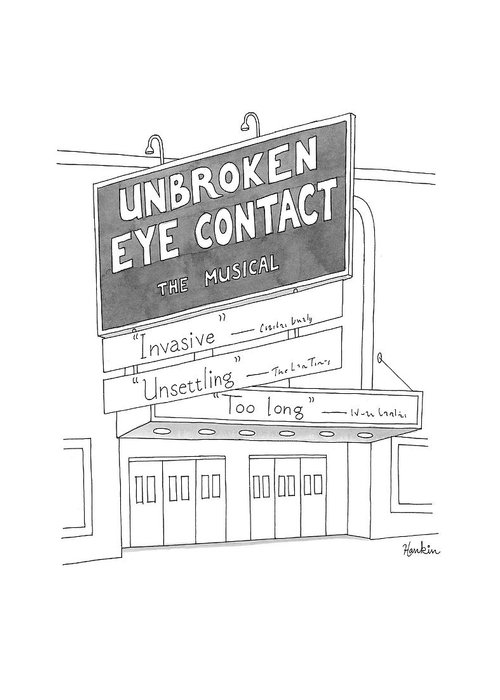 Unbroken Eye Contact Greeting Card featuring the drawing Unbroken Eye Contact The Musical by Charlie Hankin