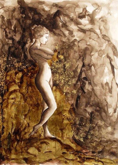Nude Greeting Card featuring the painting Uncharted Territory by Michael Price