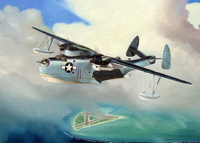 Military Greeting Card featuring the painting Uncle Bubba's Flying Boat by Marc Stewart