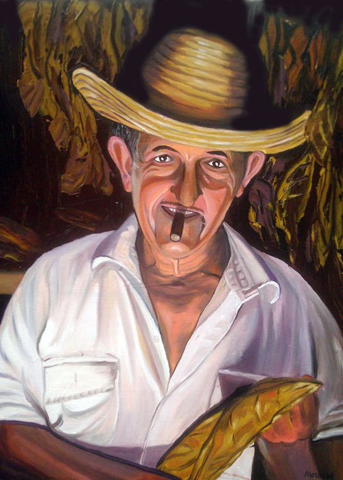 Cuban Art Greeting Card featuring the painting Uncle Frank by Jose Manuel Abraham
