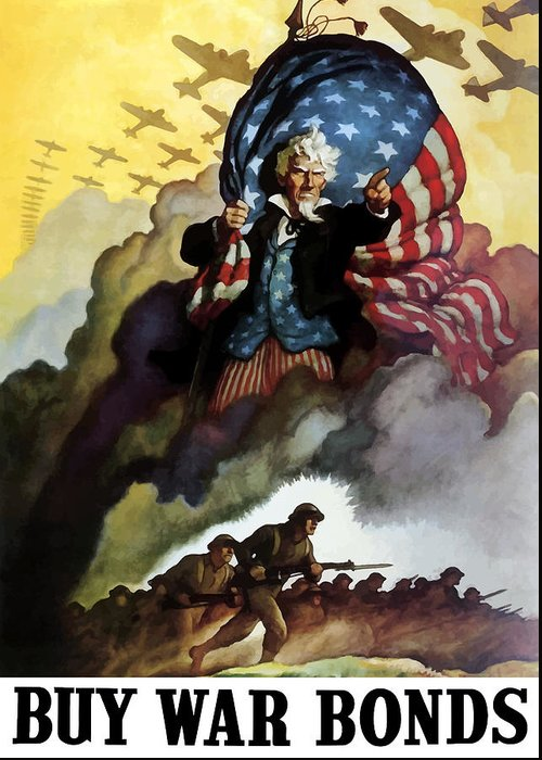 Uncle Sam Greeting Card featuring the painting Uncle Sam - Buy War Bonds by War Is Hell Store