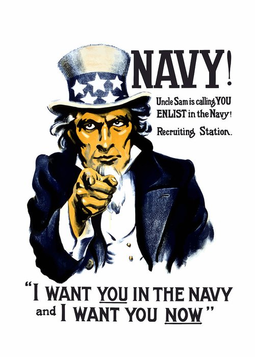 Ww1 Greeting Card featuring the painting Uncle Sam Wants You In The Navy by War Is Hell Store