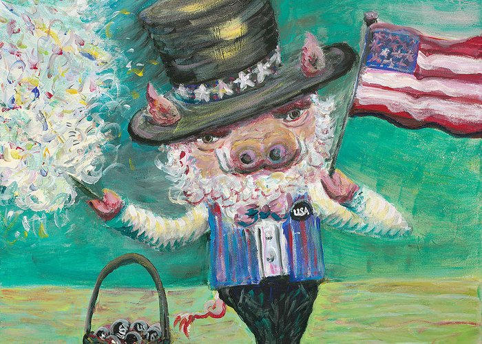Fourth Of July Greeting Card featuring the painting Uncle Spam by Nadine Rippelmeyer