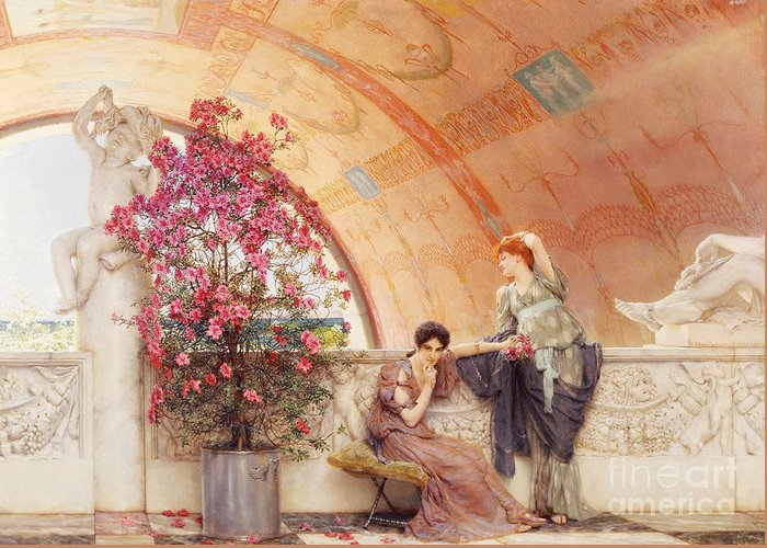 Unconscious Greeting Card featuring the painting Unconscious Rivals by Sir Lawrence Alma Tadema