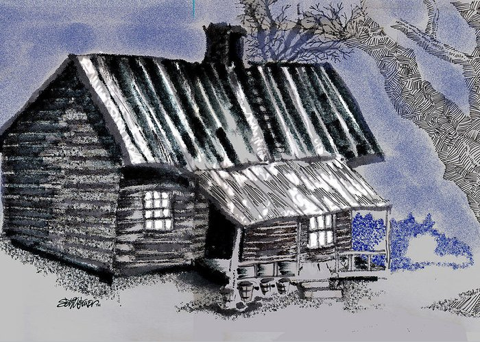 Cabin Greeting Card featuring the drawing Under a Tin Roof by Seth Weaver