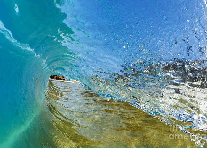 Amazing Greeting Card featuring the photograph Under Breaking Wave by MakenaStockMedia - Printscapes