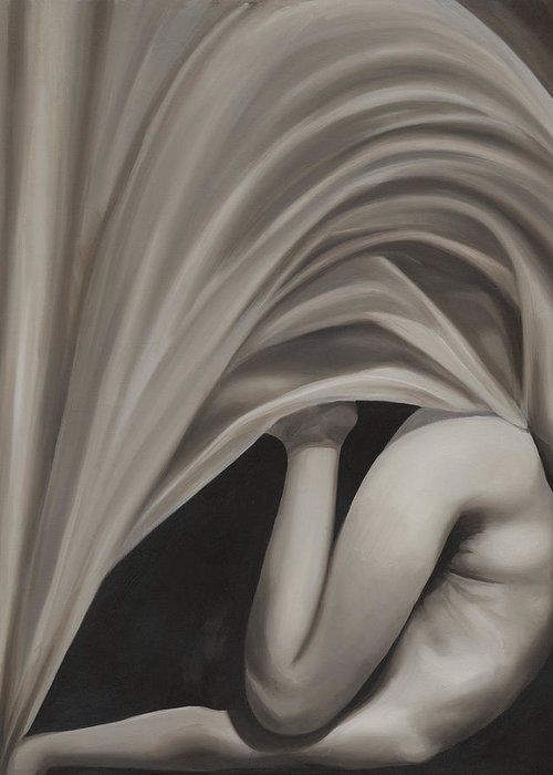 Monochromatic Greeting Card featuring the painting Under Cover by Katherine Huck Fernie Howard