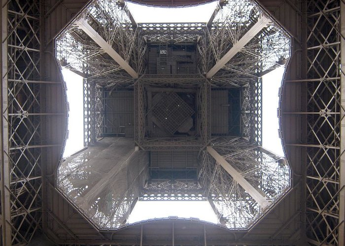 Eiffel Greeting Card featuring the photograph Under Eiffel by Menucha Citron