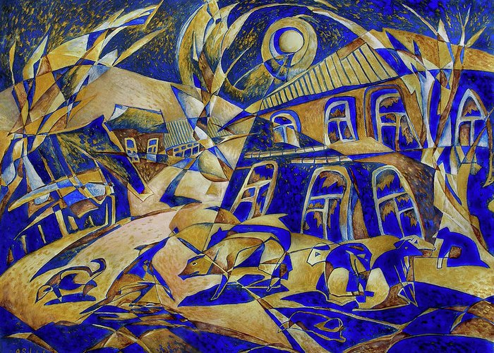 Avant-garde Greeting Card featuring the painting Under Gold Light by Andrey Soldatenko