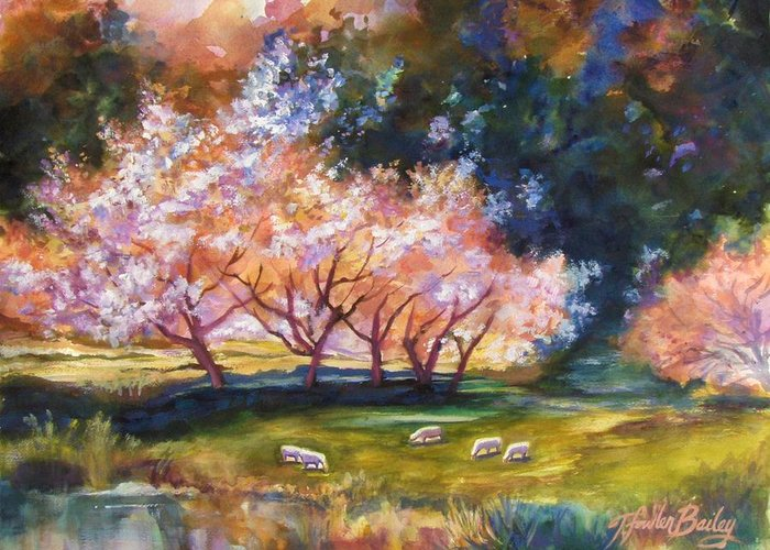 Sheep Grazing Greeting Card featuring the painting Under The Blossom Trees Sold by Therese Fowler-Bailey