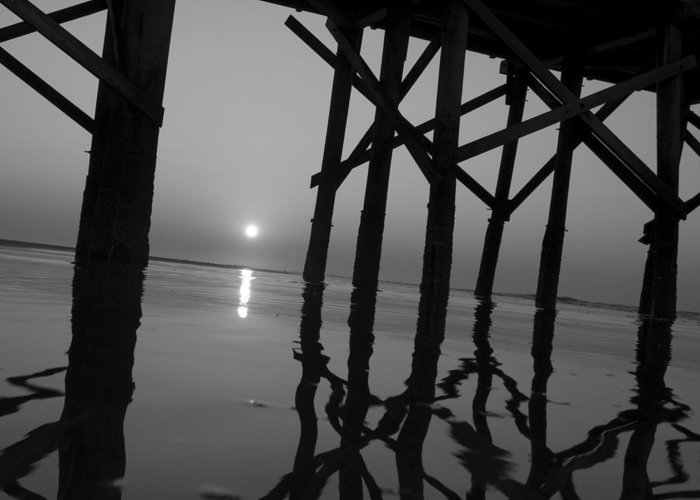 Art Greeting Card featuring the photograph Under The Boardwalk Bw1 by Tom Rickborn