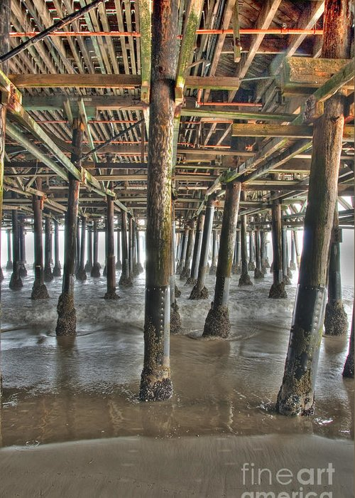 Under The Boardwalk Greeting Card featuring the photograph Under The Boardwalk Pier Sunbeams by David Zanzinger