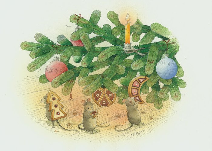 Christmas Greeting Cards Tree Green Mouse Greeting Card featuring the painting Under The Christmas Tree by Kestutis Kasparavicius