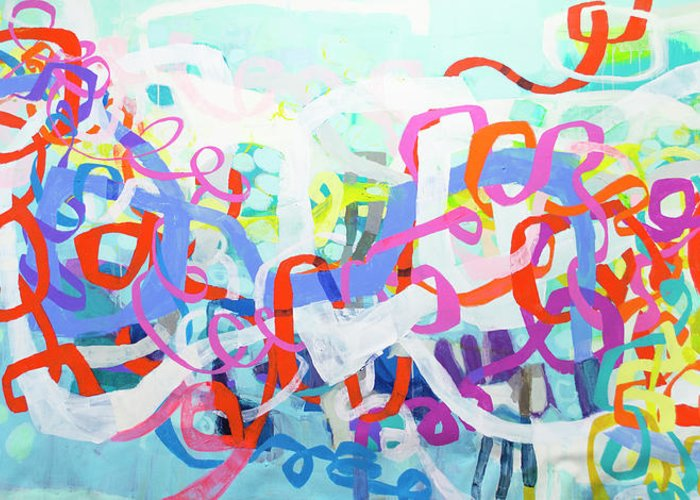 Abstract Greeting Card featuring the painting Under The Electric Candelabra by Claire Desjardins