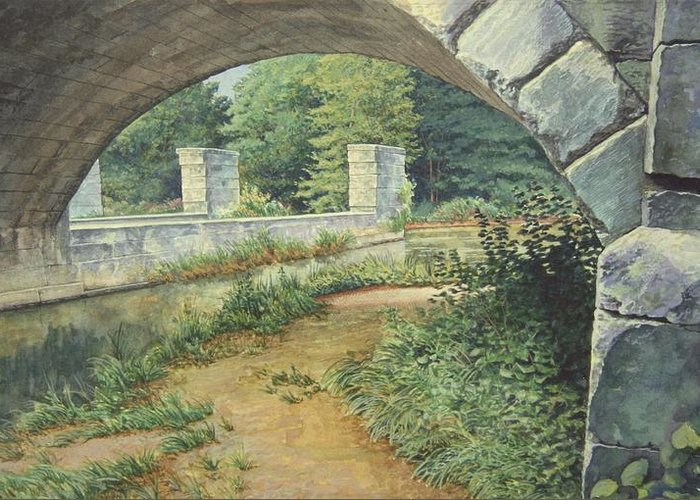 Erie Canal Greeting Card featuring the painting Under The Erie Canal by Stephen Bluto