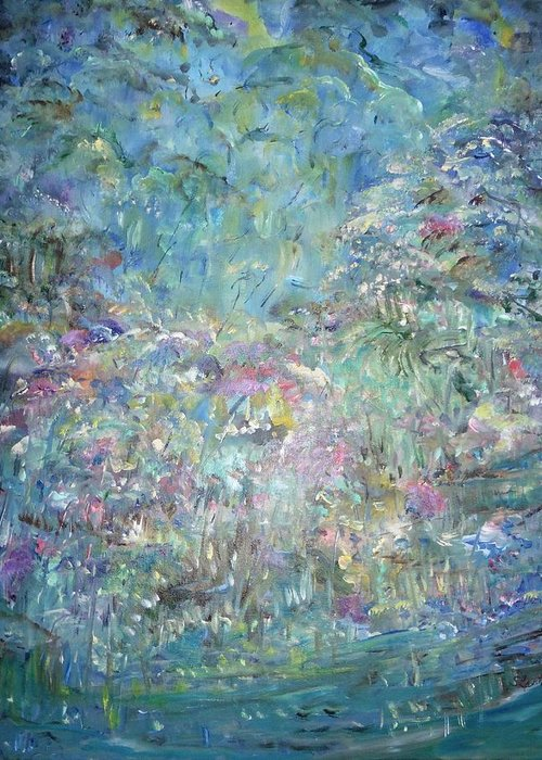 Impressionistic Style Greeting Card featuring the painting Under The Garden by Sara Credito