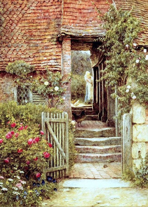 Cottage Greeting Card featuring the painting Under The Old Malthouse Hambledon Surrey by Helen Allingham