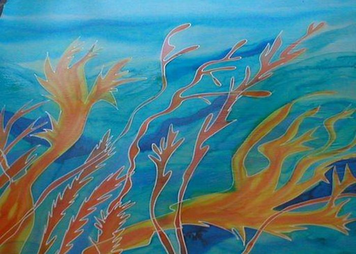 Silk Painting Greeting Card featuring the painting Under The Sea by Christine Davis