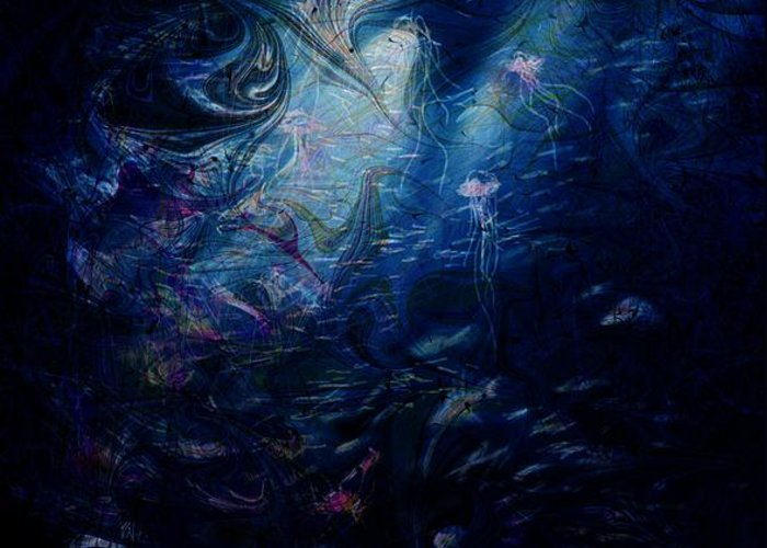Abstract Greeting Card featuring the digital art Under The Sea by Rachel Christine Nowicki