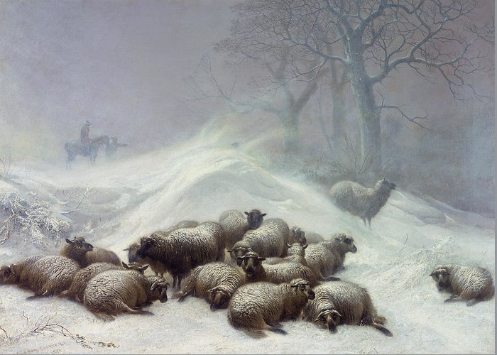 Wintry Greeting Card featuring the painting Under The Shelter Of The Shapeless Drift by Thomas Sidney Cooper