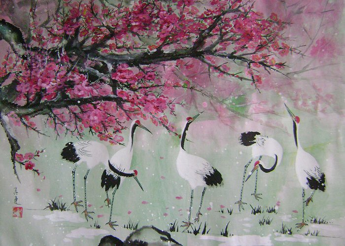 Birds Greeting Card featuring the painting Under The Snow Plums 2 by Lian Zhen