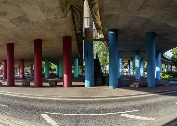 Architecture Greeting Card featuring the photograph Under The Viaduct A Panoramic Urban View by Jacek Wojnarowski