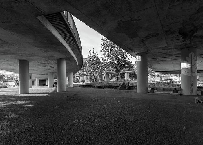 Architecture Greeting Card featuring the photograph Under The Viaduct D Urban View by Jacek Wojnarowski