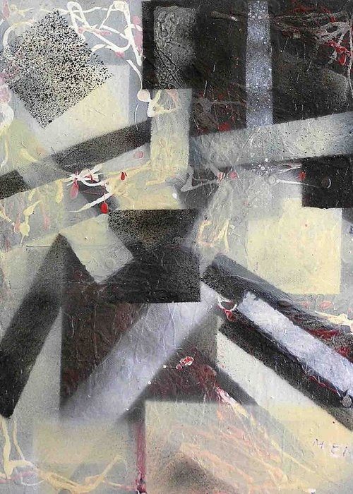 Abstract Greeting Card featuring the painting undercover N1 by Evguenia Men