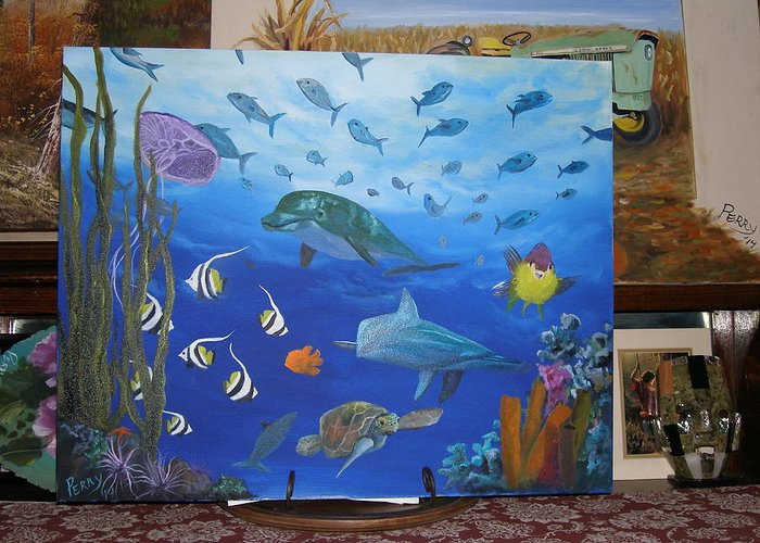 Dolphins Greeting Card featuring the painting Undersea Friends by Mark Perry