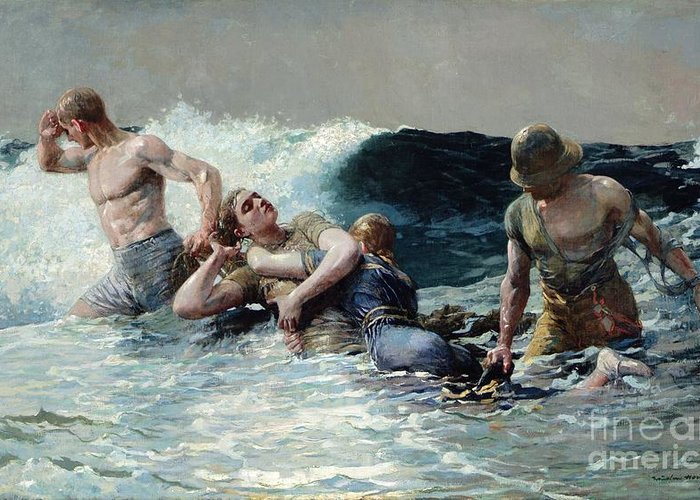 Undertow Greeting Card featuring the painting Undertow by Winslow Homer