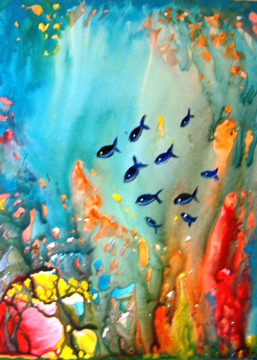 Fish Water Magic Under Coral Reef Sunlight Blue Red Orange Green Yupo Paper Sunlight Rocks Greeting Card featuring the painting Underwater Magic by Manjiri Kanvinde