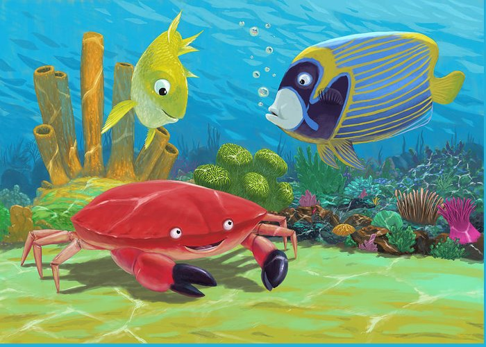 Ocean Greeting Card featuring the painting Underwater Sea Friends by Martin Davey
