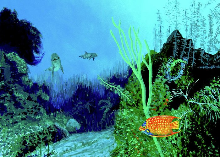Wildlife Greeting Card featuring the painting Underwater by Stan Hamilton