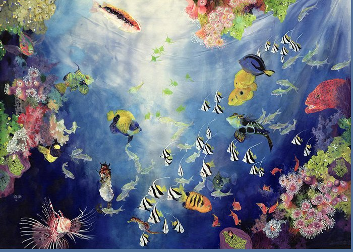 Fish; Water; Sea; Tropical; Exotic; Coral; Swimming; Colorful; Fishes Greeting Card featuring the painting Underwater World II by Odile Kidd